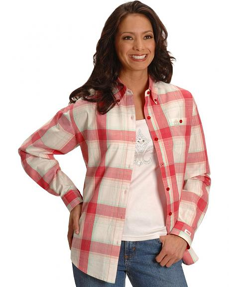Wrangler 20X pink plaid shirt