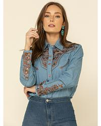 Scully Floral Embroidered Retro Western Shirt at Sheplers