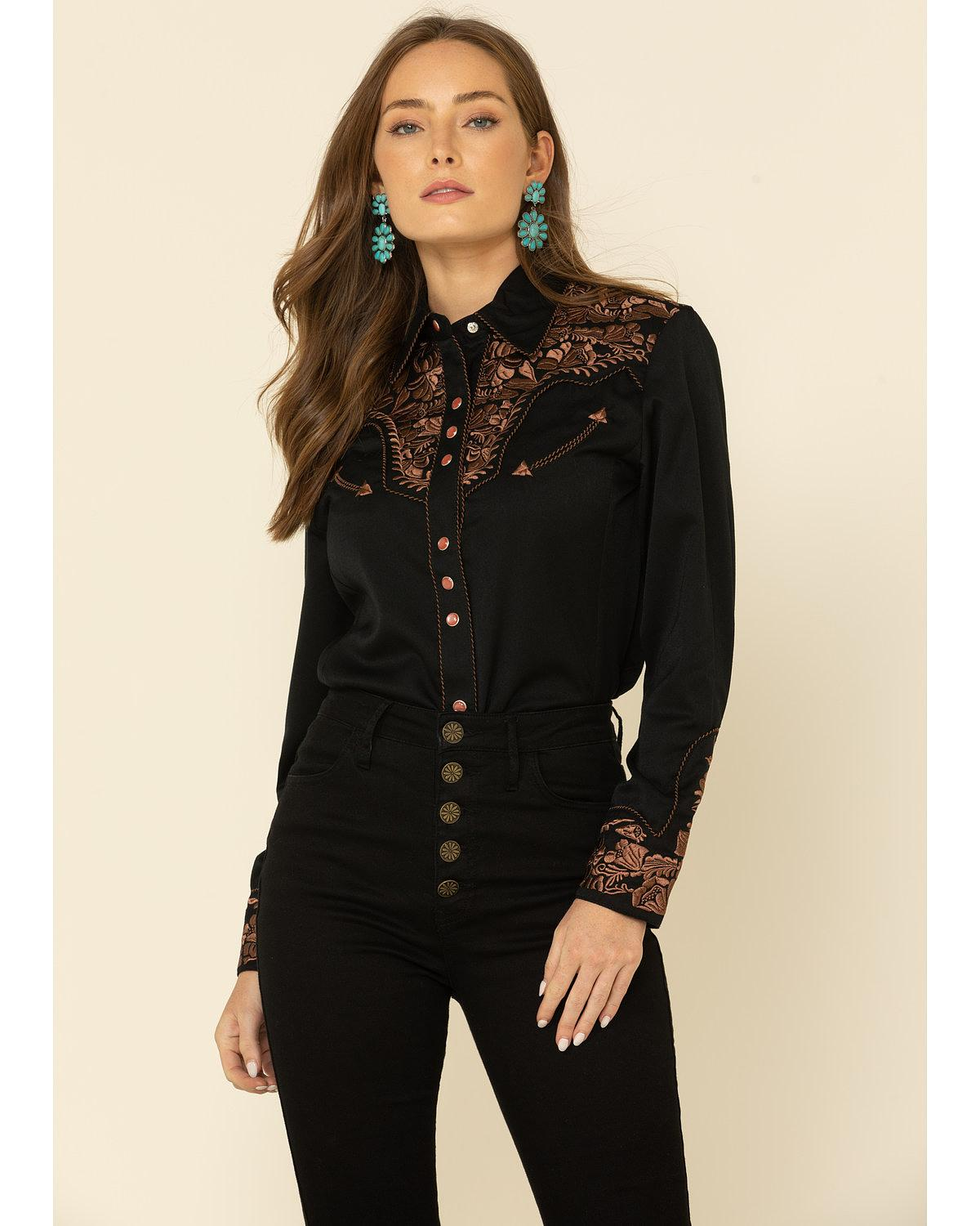 Scully Women's Floral Embroidered Blue Retro Western Shirt ...