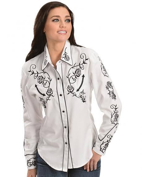 Scully -  Floral Embroidered Retro Western Shirt