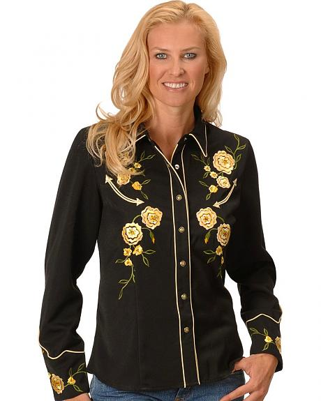 Scully Yellow Rose Embroidery Retro Western Shirt