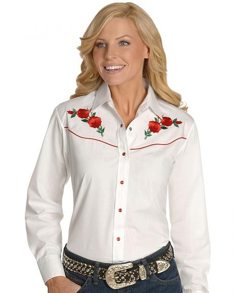 Ely Embroidered Red Roses Vintage Western Cowboy Shirt