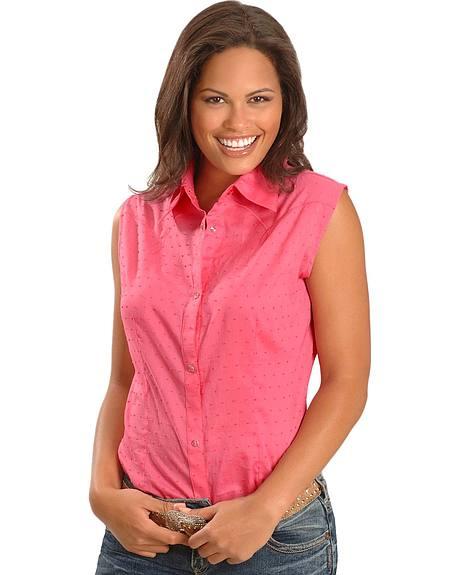 Wrangler Pink Sleeveless Western Shirt