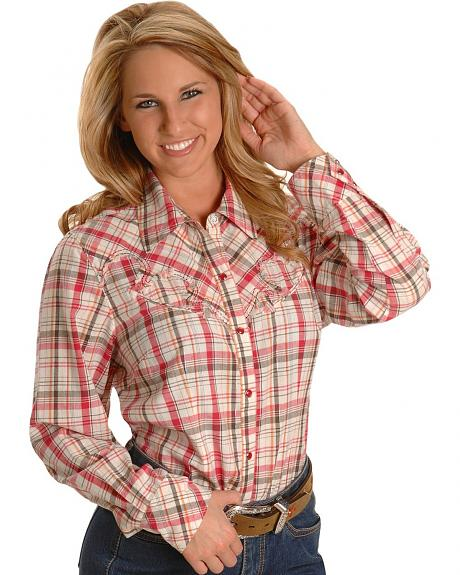 Lurex Pink Plaid Western Shirt