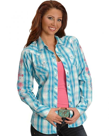 Ariat Abree Embroidered Blue Plaid Western Shirt