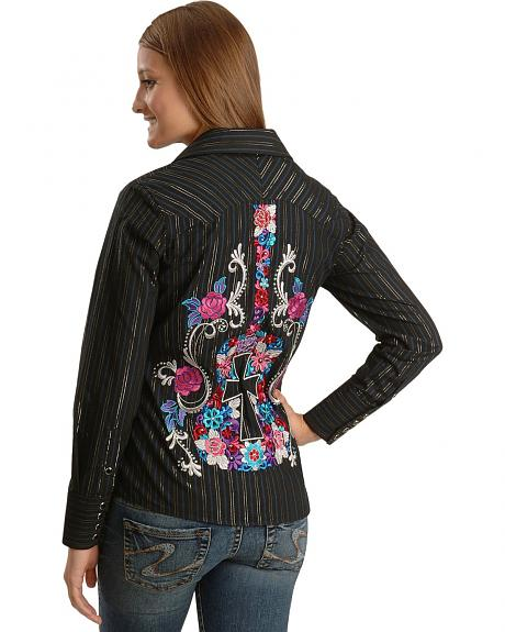 Panhandle Slim Guitar Embroidered Lurex Dobby Western Shirt