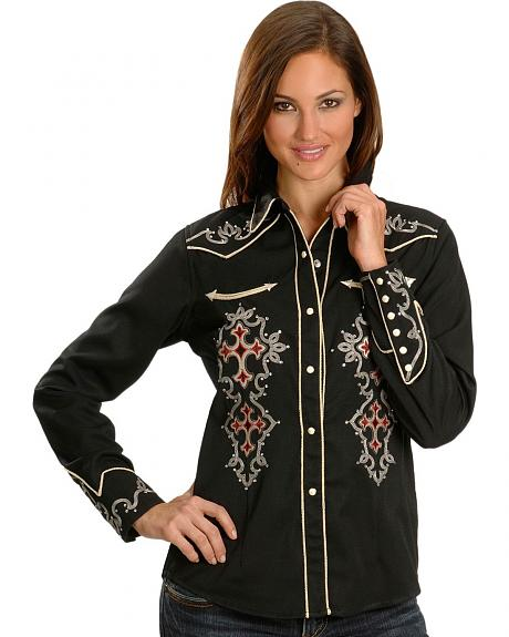 Panhandle Slim Embroidered Retro Western Shirt