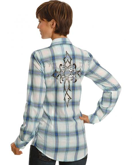 Wrangler Embellished Cross Plaid Western Shirt