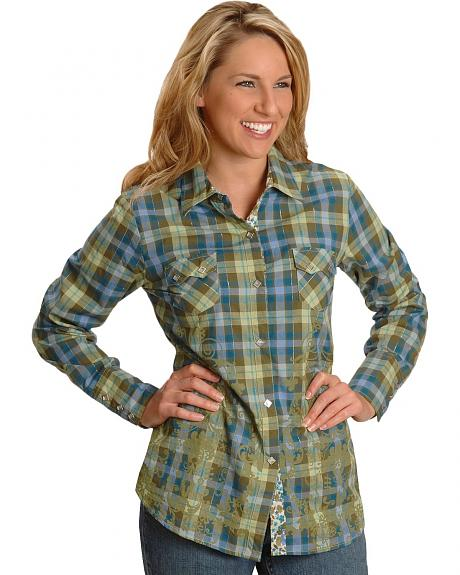 Roper Green Plaid & Floral Print Western Shirt