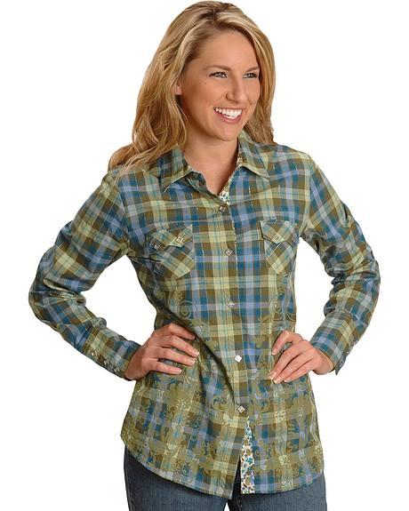Roper Green Plaid & Floral Print Western Shirt