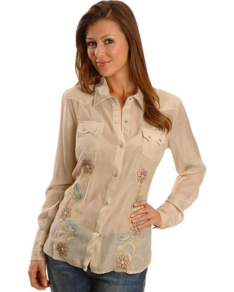 Roper Paisley Embroidered Crepe Western Shirt