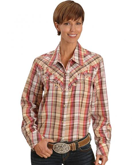 Lurex Brown Plaid Western Shirt - Reg