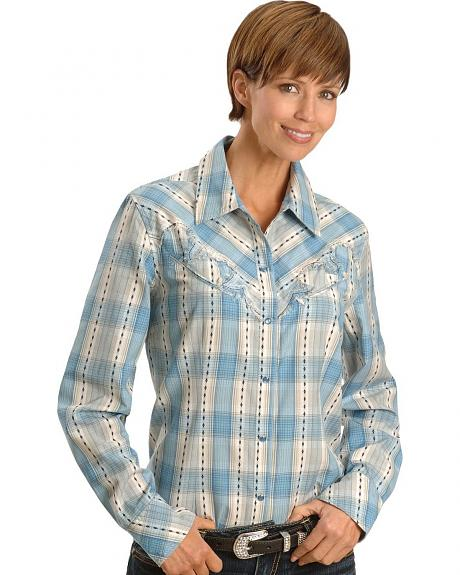 Blue Dobby Plaid Western Shirt - Reg