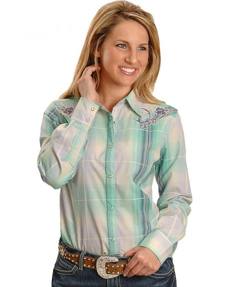 Wrangler Embellished & Embroidered Plaid Western Shirt