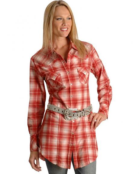 Panhandle Slim Embellished Plaid Lurex Tunic