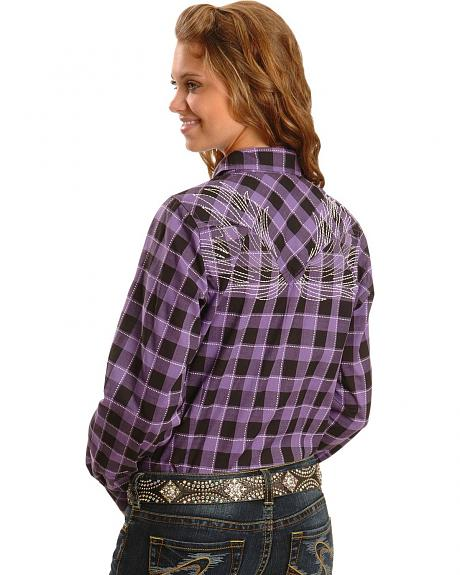 Wrangler Rock 47 Embellished Purple Plaid Western Shirt