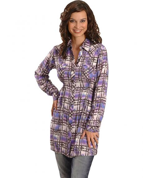 Wrangler Rock 47 Purple Plaid Tunic