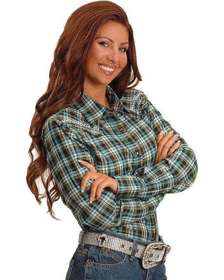 Wrangler Embellished Lurex Plaid Western Shirt