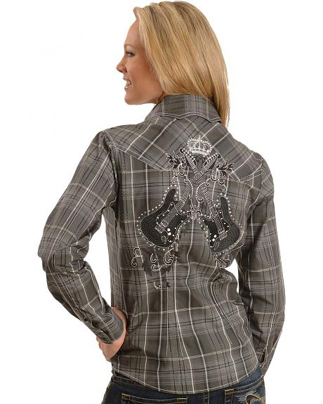 Panhandle Slim Embroidered Grey Plaid Western Shirt