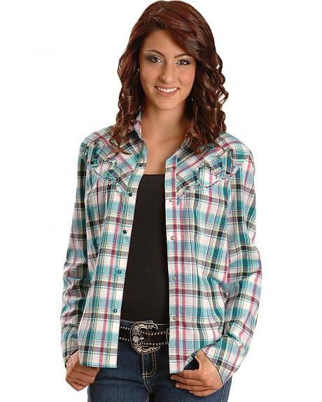 Lurex Blue Plaid Western Shirt - Reg