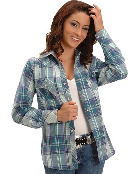 Exclusive Gibson Trading Co, Teal Plaid Flannel Western Shirt
