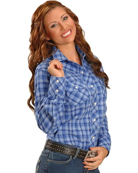 Exclusive Gibson Trading Co. Blue Plaid Flannel Western Shirt