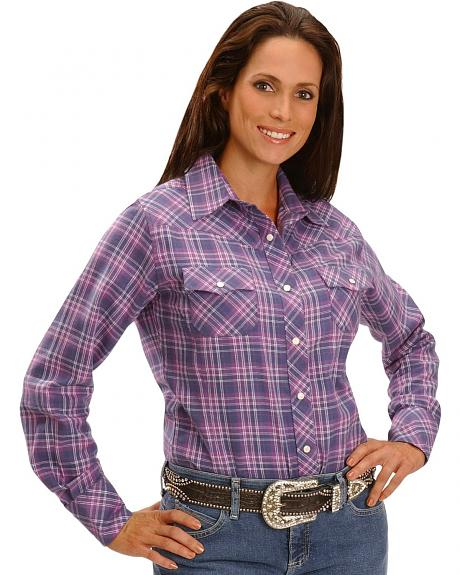 Exclusive Gibson Trading Co. Purple Plaid Flannel Western Shirt