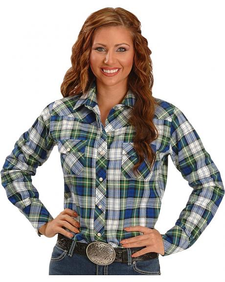 Exclusive Gibson Trading Co. Green Plaid Flannel Western Shirt