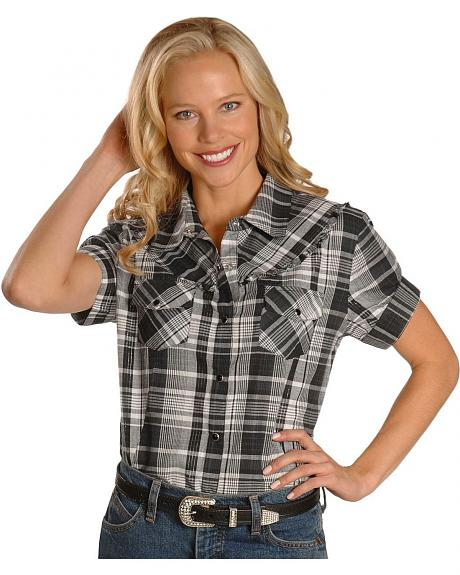 Exclusive Gibson Trading Co. Black & White Plaid Ruffled Western Shirt