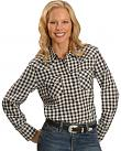 Exclusive Gibson Trading Co. Black & White Block Plaid Embroidered Western Shirt