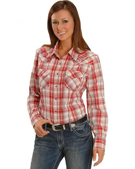 Exclusive Gibson Trading Co. Red & White Plaid Embroidered Yoke Western Shirt