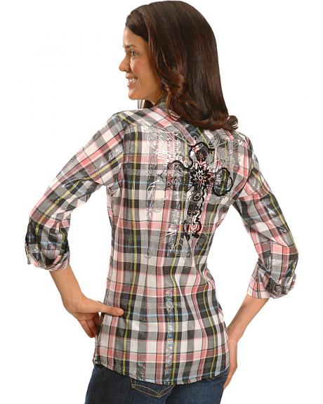 Ariat Adair Cross & Wing Beaded Plaid Western Top