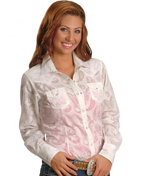 Ariat White Paisley Burnout Western Shirt