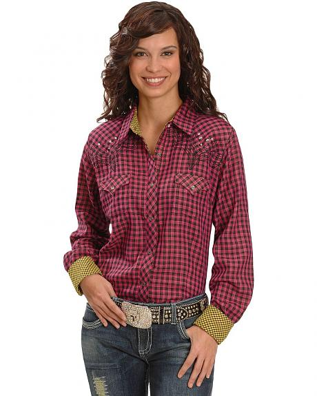 Wrangler Rock 47 Embellished Plaid Western Shirt