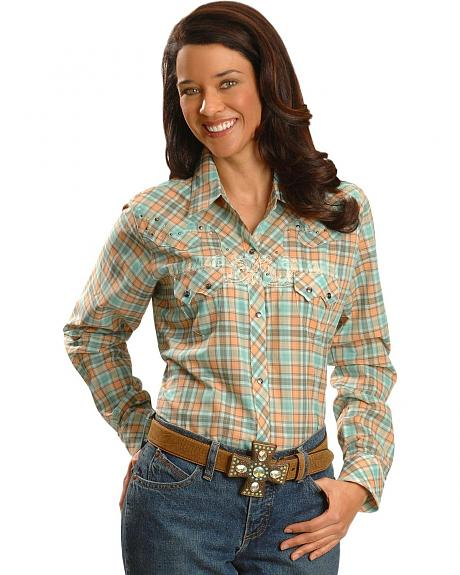 Wrangler Rock 47 Embellished Plaid Western Top