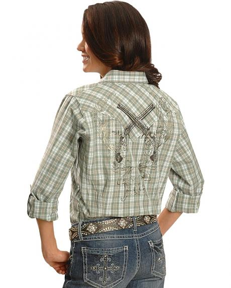 Wrangler Crossed Guns Print Plaid Western Shirt
