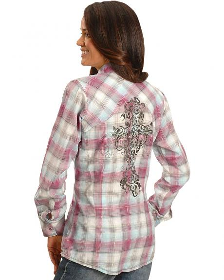 Wrangler Scroll Print Plaid Western Shirt