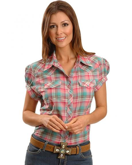 Wrangler Women's Short Sleeve Plaid Western Shirt