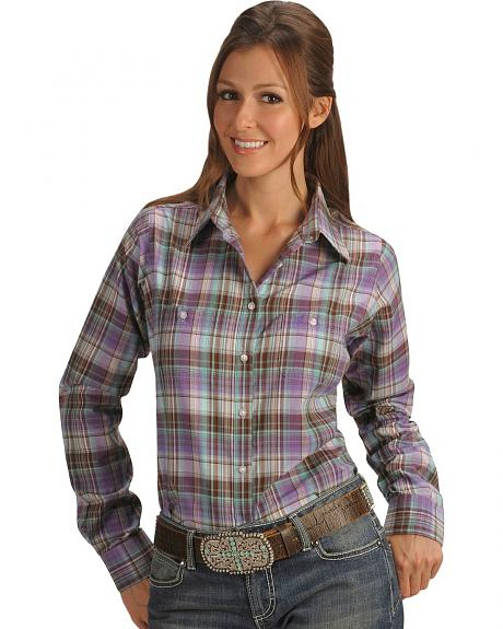 Wrangler Purple Plaid Long Sleeve Top