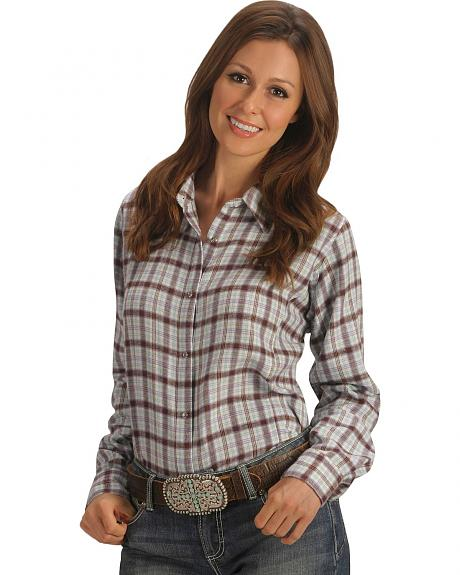 Wrangler Purple Plaid Flannel Long Sleeve Top