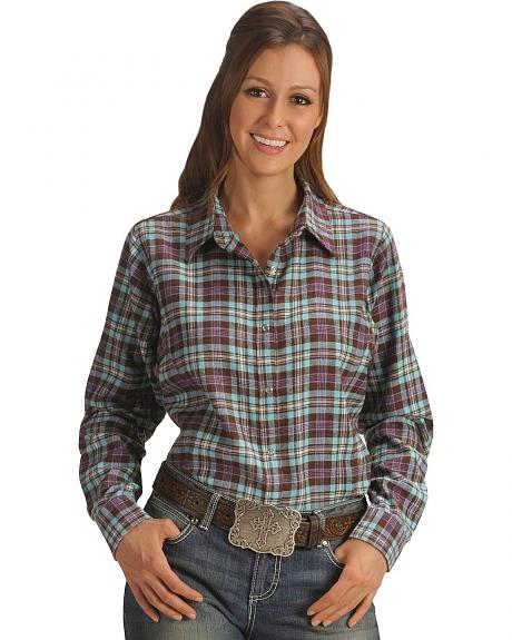 Wrangler Brown Plaid Flannel Long Sleeve Top