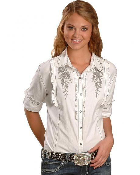 Panhandle Slim Half Sleeve Ruffled Western Shirt