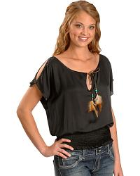 Panhandle Slim Key Hole Peasant Top w/ Feather Tie at Sheplers