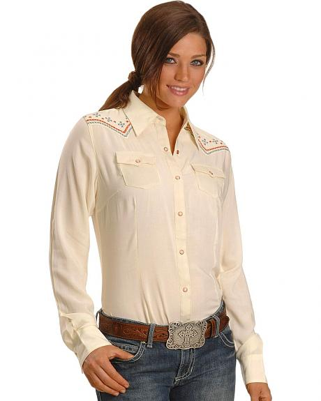 Wrangler Contrasting Embroidery Western Long Sleeve Shirt