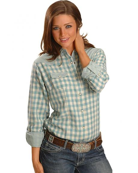 Wrangler Checkered Pattern Long Sleeve Western Shirt