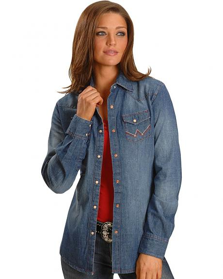 Wrangler Red Stitched Denim Long Sleeve Western Shirt