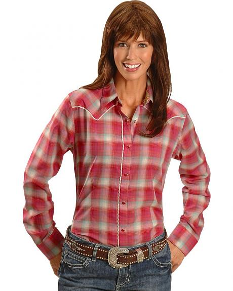 Wrangler Embroidered Yoke Plaid Western Shirt