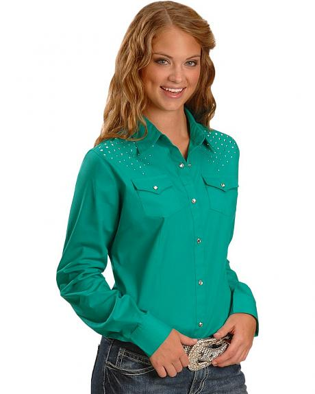 Wrangler Rhinestone Yoke Long Sleeve Shirt