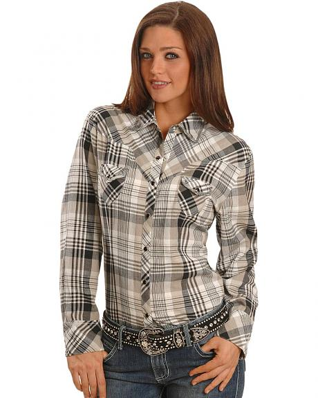 Exclusive Gibson Trading Co. Black Plaid & Sequins Western Shirt