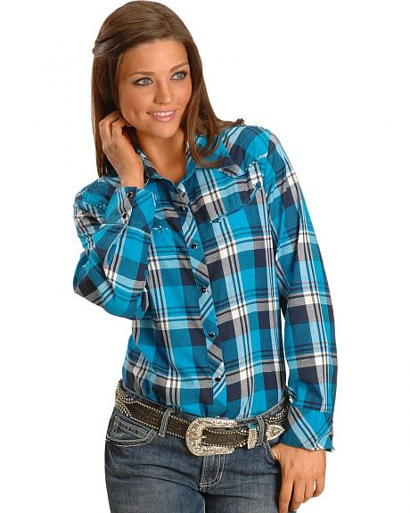 Exclusive Gibson Trading Co. Embellished Teal Plaid Western Shirt